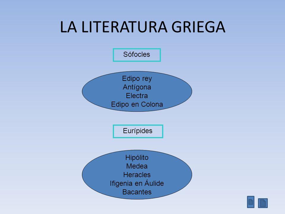 LA LITERATURA GRIEGA Sófocles Edipo rey Antígona Electra