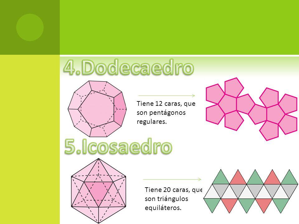 4.Dodecaedro 5.Icosaedro Tiene 12 caras, que son pentágonos regulares.