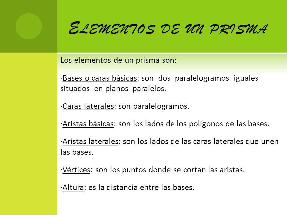 Elementos de un prisma Los elementos de un prisma son: