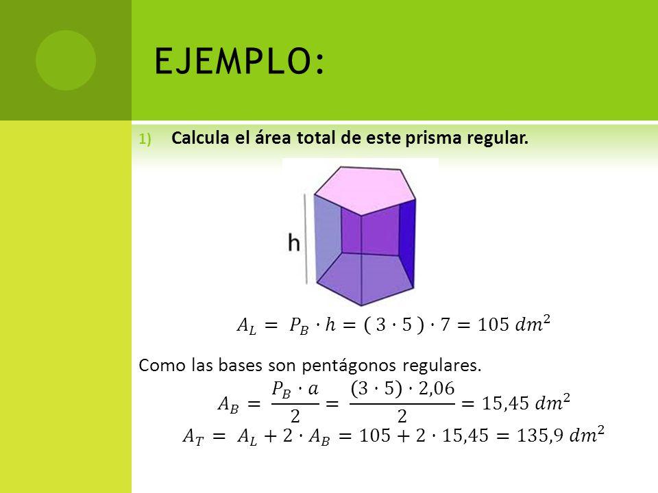 EJEMPLO: Calcula el área total de este prisma regular.