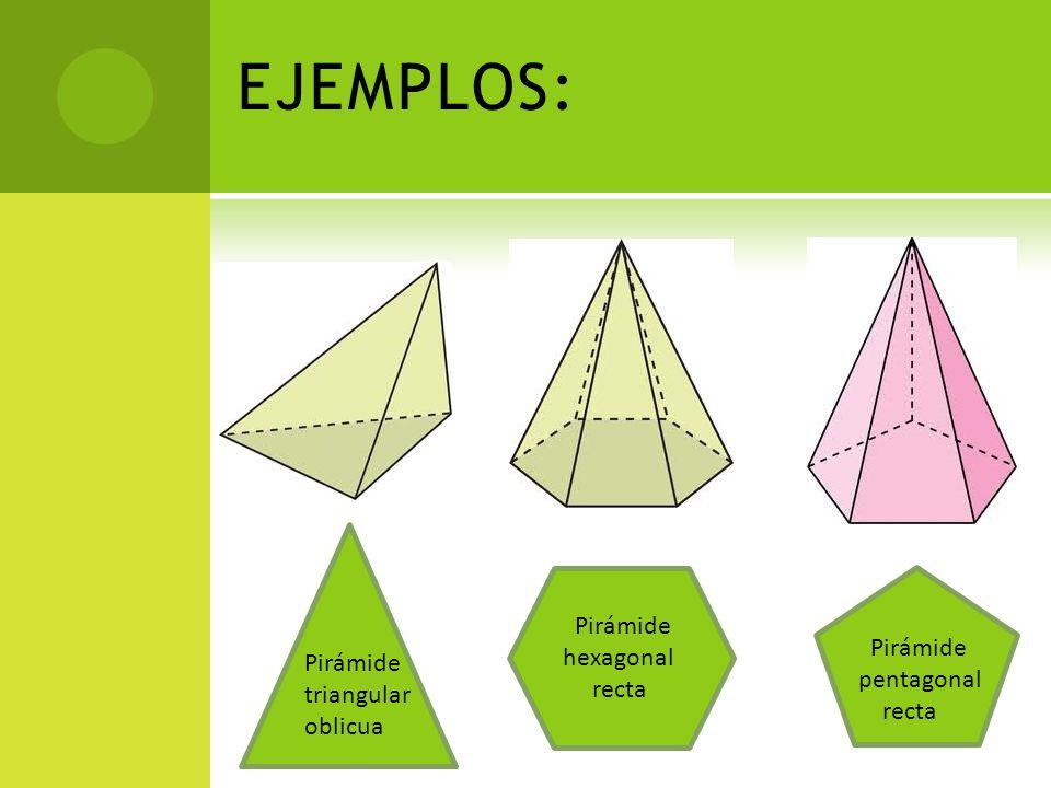 EJEMPLOS: Pirámide hexagonal recta Pirámide pentagonal recta Pirámide