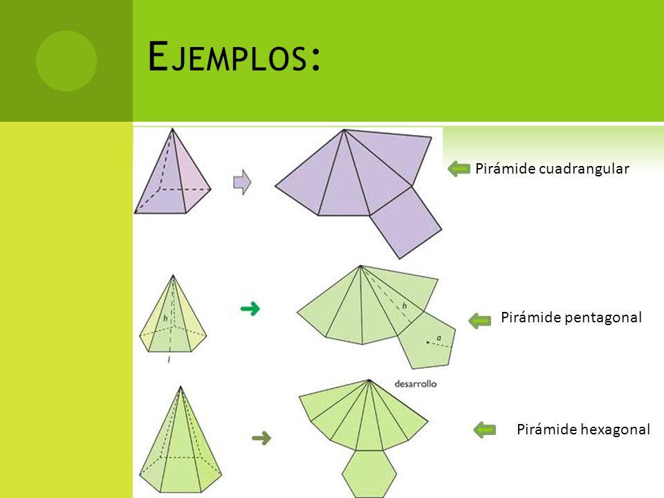 Ejemplos: Pirámide cuadrangular Pirámide pentagonal Pirámide hexagonal