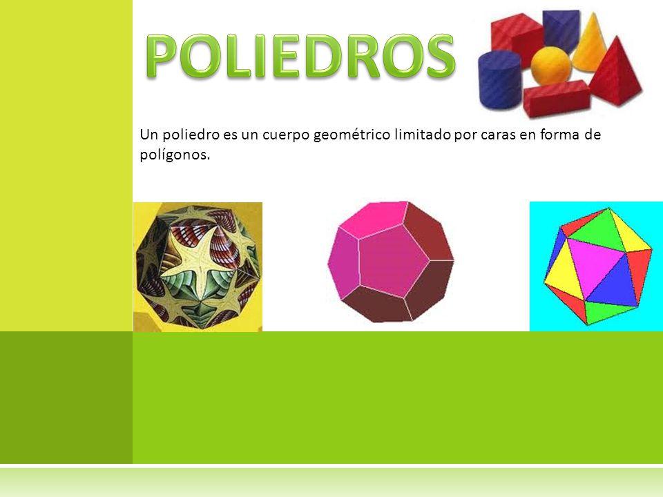 POLIEDROS Un poliedro es un cuerpo geométrico limitado por caras en forma de polígonos.