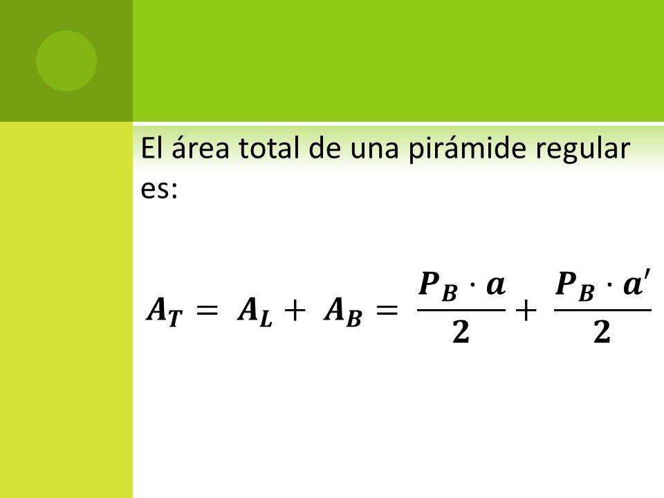 El área total de una pirámide regular es: