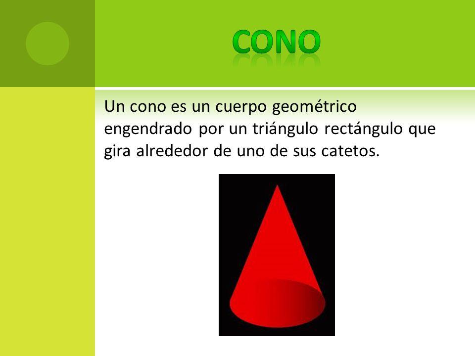 CONO Un cono es un cuerpo geométrico engendrado por un triángulo rectángulo que gira alrededor de uno de sus catetos.