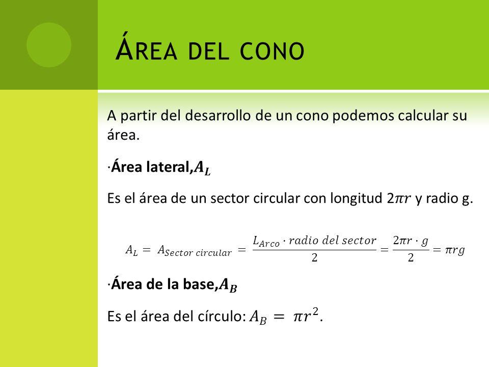 Área del cono A partir del desarrollo de un cono podemos calcular su área. ·Área lateral, 𝑨 𝑳.