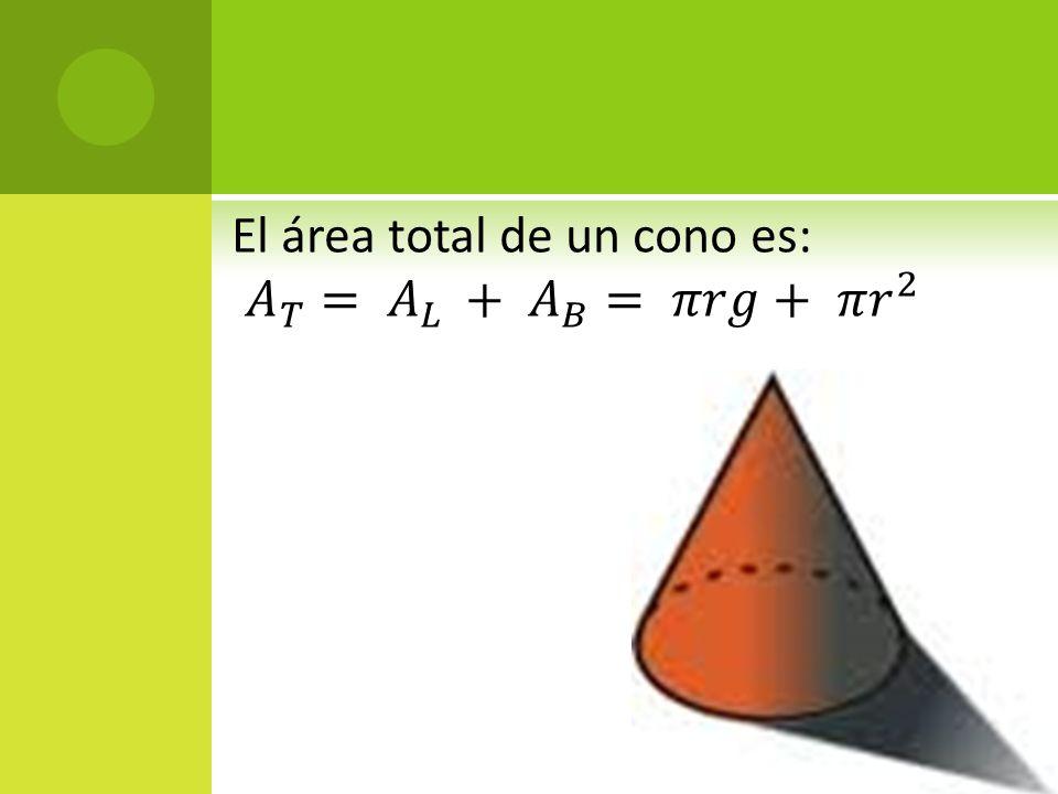 El área total de un cono es: 𝐴 𝑇 = 𝐴 𝐿 + 𝐴 𝐵 = 𝜋𝑟𝑔+ 𝜋 𝑟 2