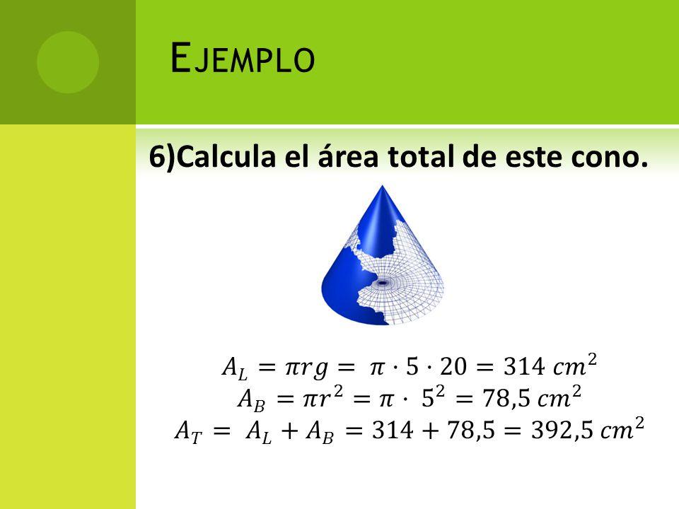 Ejemplo 6)Calcula el área total de este cono.