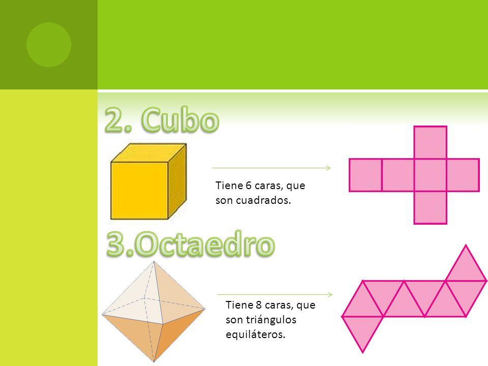 2. Cubo 3.Octaedro Tiene 6 caras, que son cuadrados.