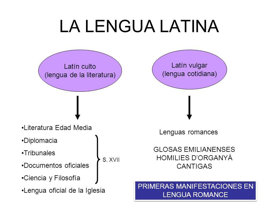 LA LENGUA LATINA Latín culto Latín vulgar (lengua de la literatura)
