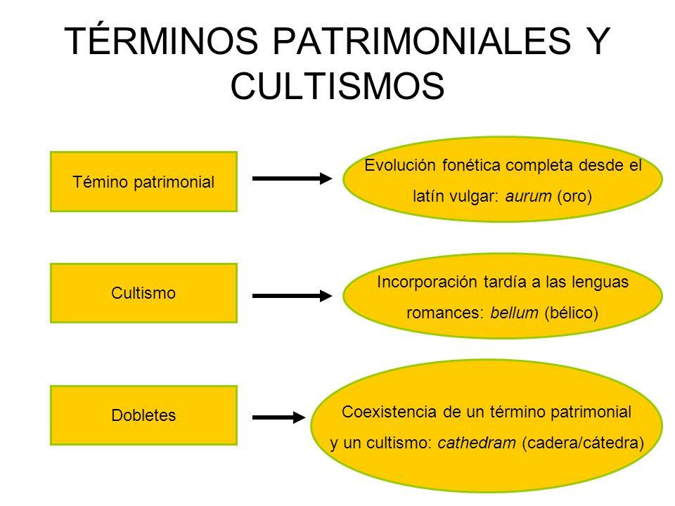 TÉRMINOS PATRIMONIALES Y CULTISMOS