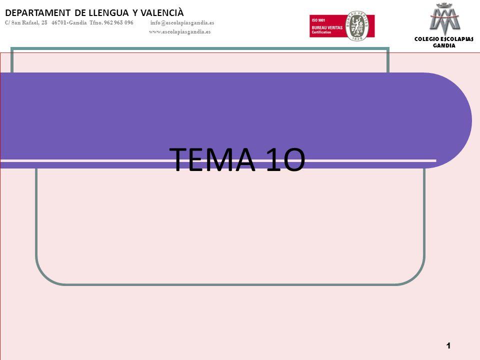 TEMA 1O DEPARTAMENT DE LLENGUA Y VALENCIÀ