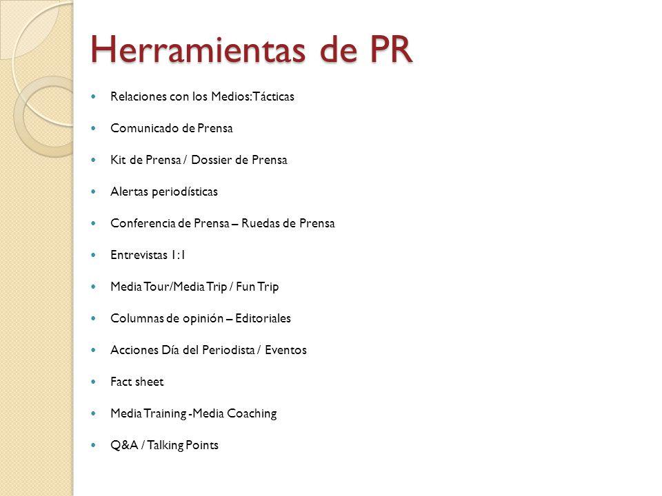 Herramientas de PR Relaciones con los Medios: Tácticas