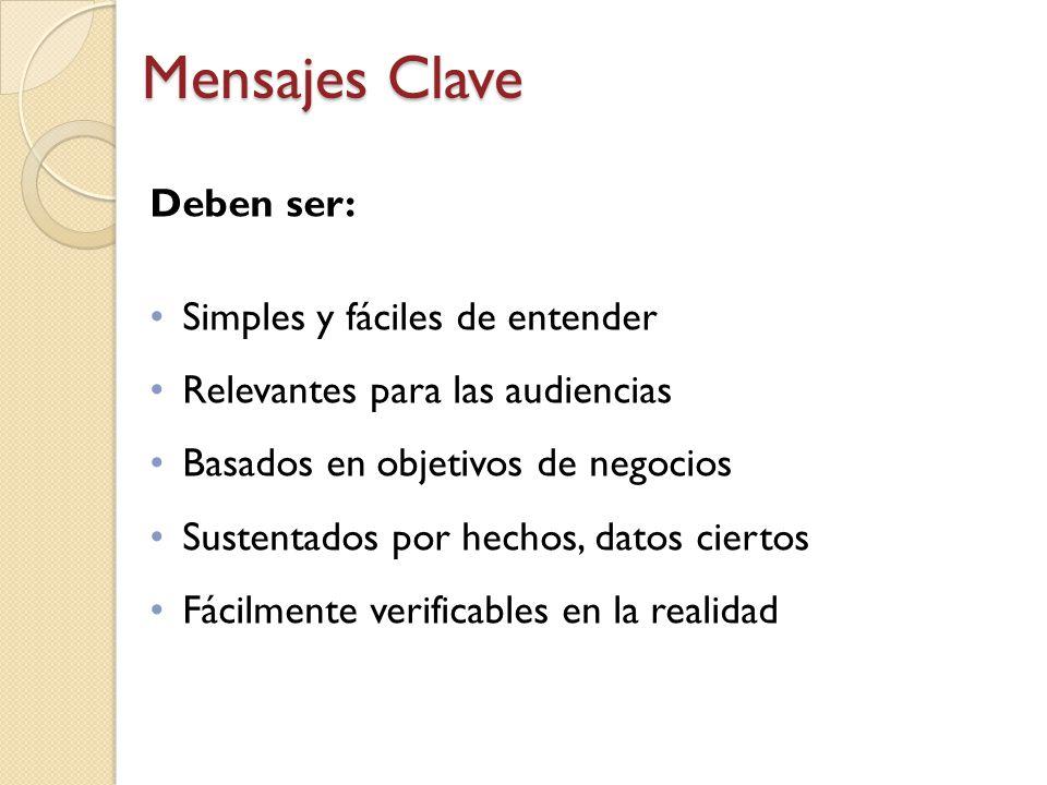 Mensajes Clave Deben ser: Simples y fáciles de entender
