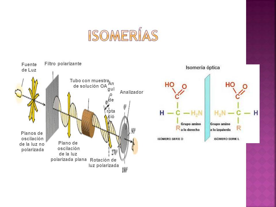 Isomerías Filtro polarizante Fuente de Luz Tubo con muestra