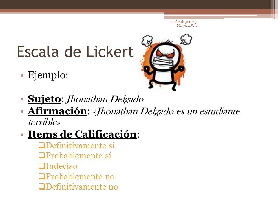 Escala de Lickert Ejemplo: Sujeto: Jhonathan Delgado