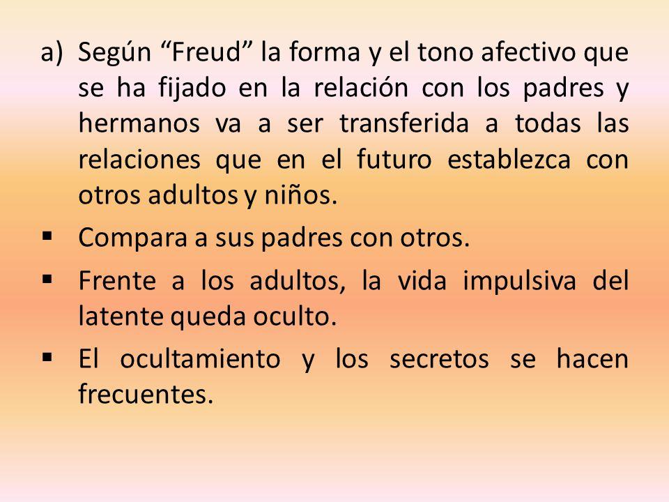 Según Freud la forma y el tono afectivo que se ha fijado en la relación con los padres y hermanos va a ser transferida a todas las relaciones que en el futuro establezca con otros adultos y niños.