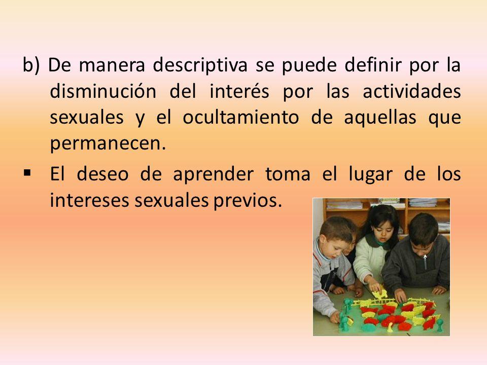 b) De manera descriptiva se puede definir por la disminución del interés por las actividades sexuales y el ocultamiento de aquellas que permanecen.