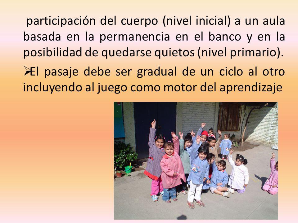 participación del cuerpo (nivel inicial) a un aula basada en la permanencia en el banco y en la posibilidad de quedarse quietos (nivel primario).