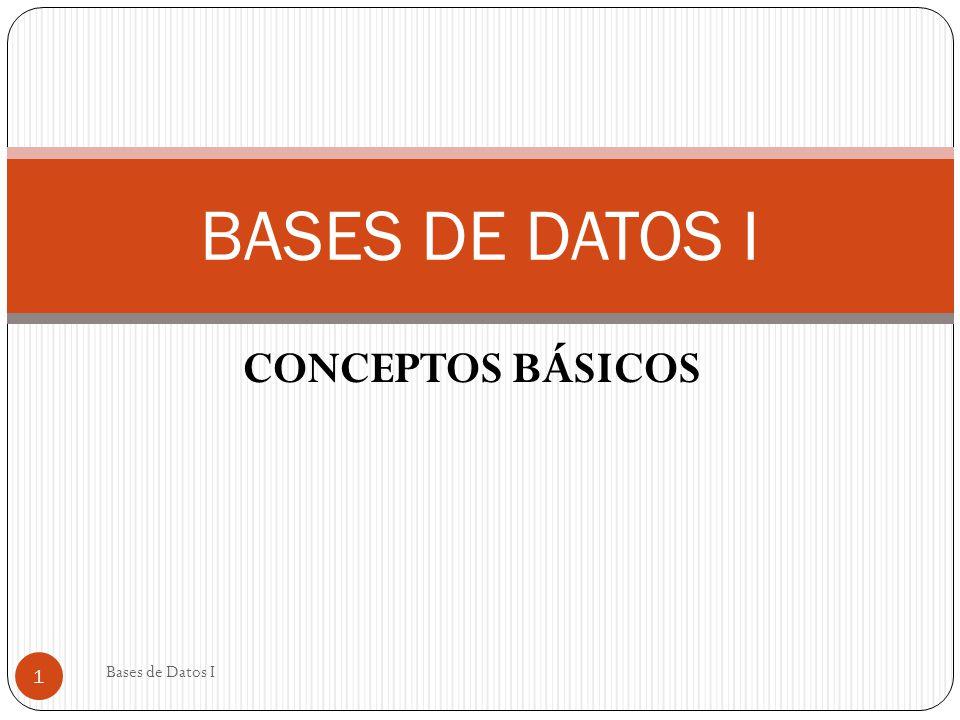 BASES DE DATOS I CONCEPTOS BÁSICOS Bases de Datos I
