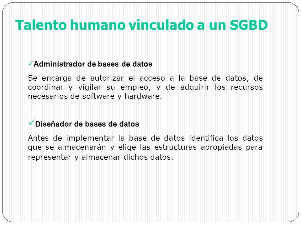 Talento humano vinculado a un SGBD