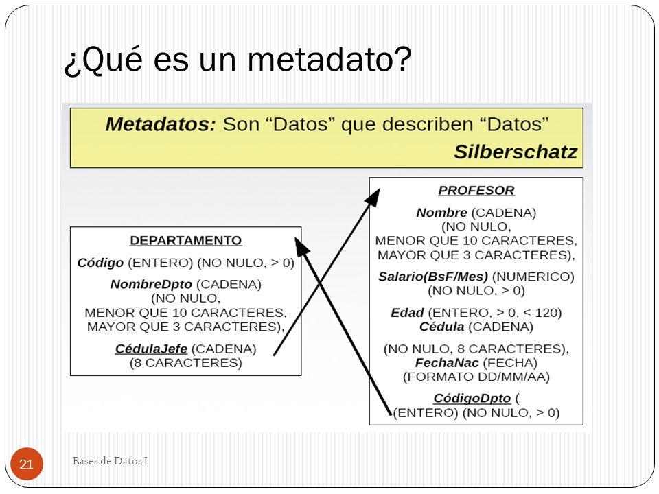 ¿Qué es un metadato Bases de Datos I