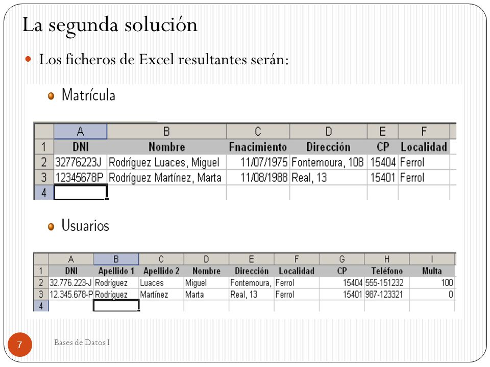 La segunda solución Los ficheros de Excel resultantes serán: