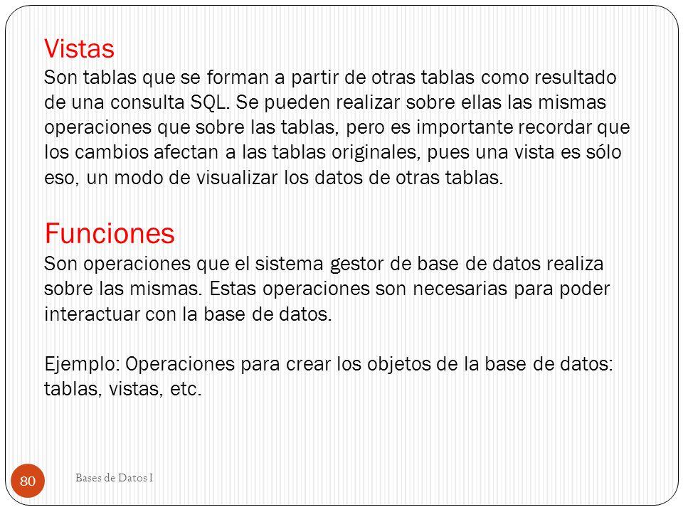 Vistas Son tablas que se forman a partir de otras tablas como resultado de una consulta SQL. Se pueden realizar sobre ellas las mismas operaciones que sobre las tablas, pero es importante recordar que los cambios afectan a las tablas originales, pues una vista es sólo eso, un modo de visualizar los datos de otras tablas. Funciones Son operaciones que el sistema gestor de base de datos realiza sobre las mismas. Estas operaciones son necesarias para poder interactuar con la base de datos. Ejemplo: Operaciones para crear los objetos de la base de datos: tablas, vistas, etc.