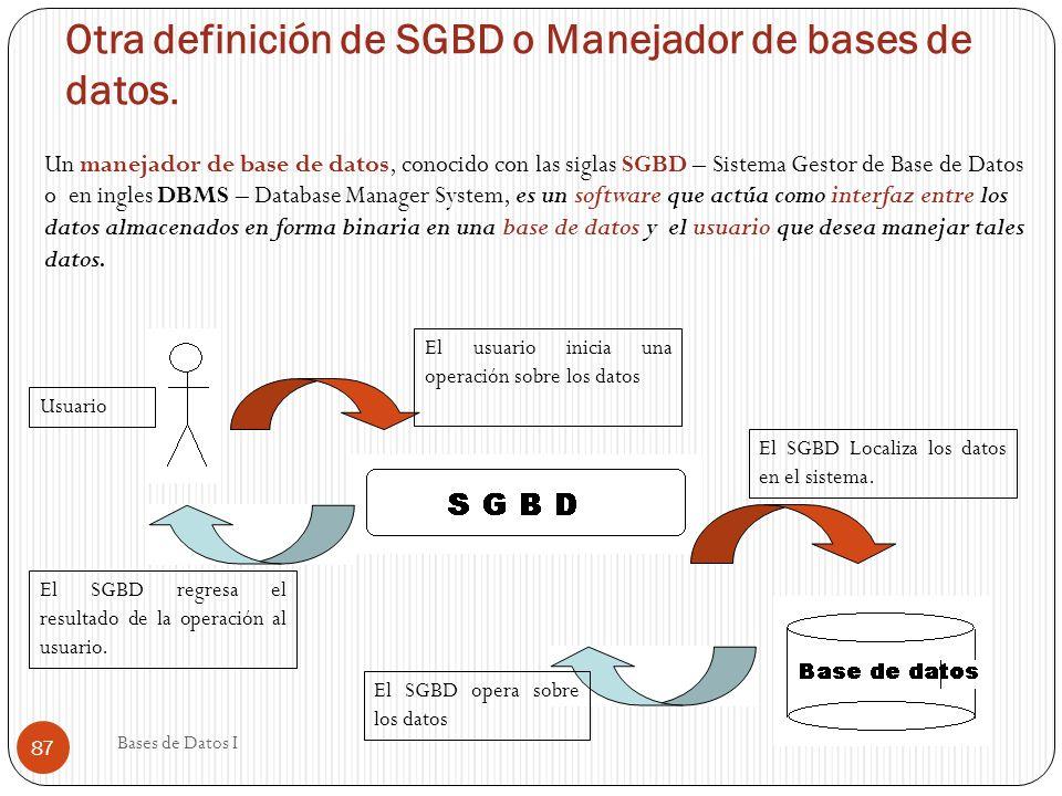 Otra definición de SGBD o Manejador de bases de datos.
