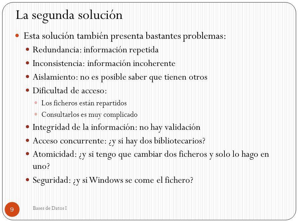 La segunda solución Esta solución también presenta bastantes problemas: Redundancia: información repetida.