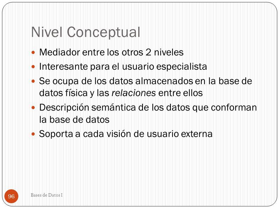 Nivel Conceptual Mediador entre los otros 2 niveles