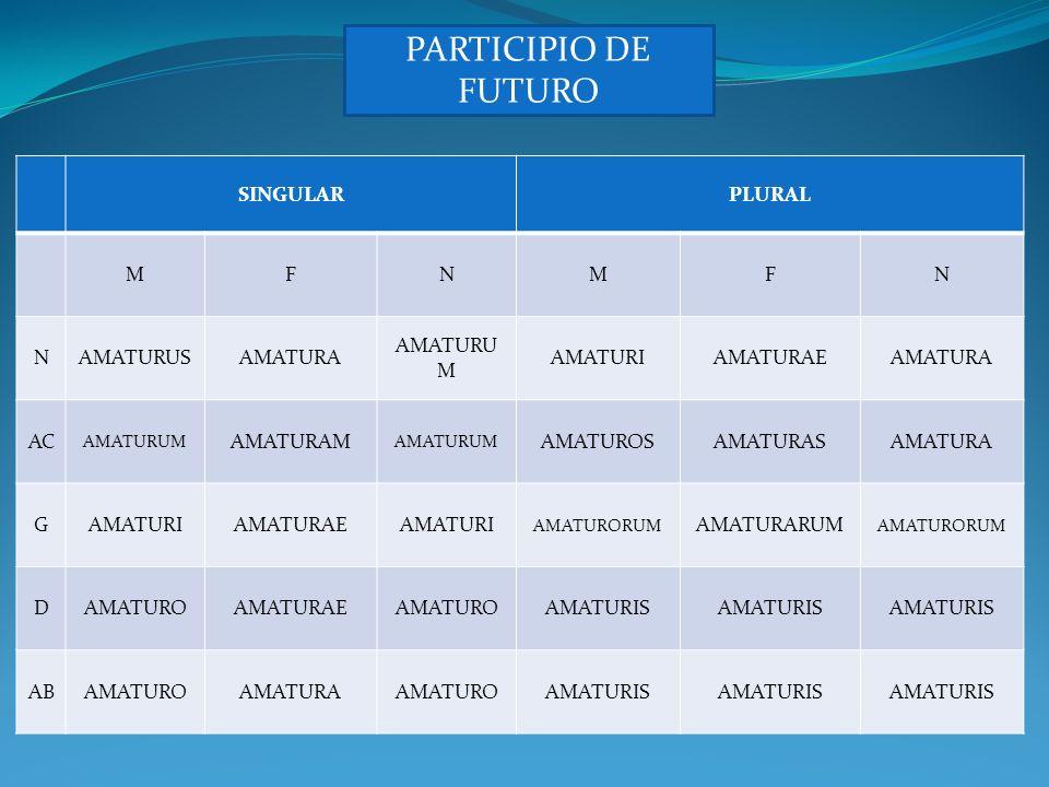 PARTICIPIO DE FUTURO SINGULAR PLURAL M F N AMATURUS AMATURA AMATURUM