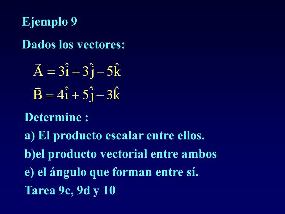 Ejemplo 9Dados los vectores: Determine : a) El producto escalar entre ellos. b)el producto vectorial entre ambos.