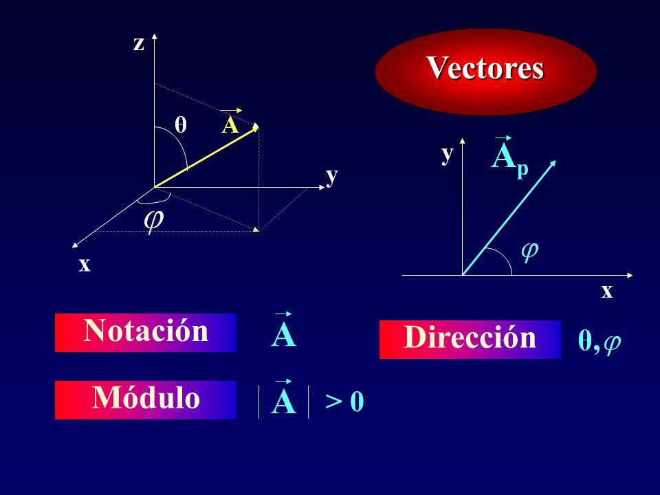 Dirección x y z Vectores A Ap x y Notación A Módulo A > 0