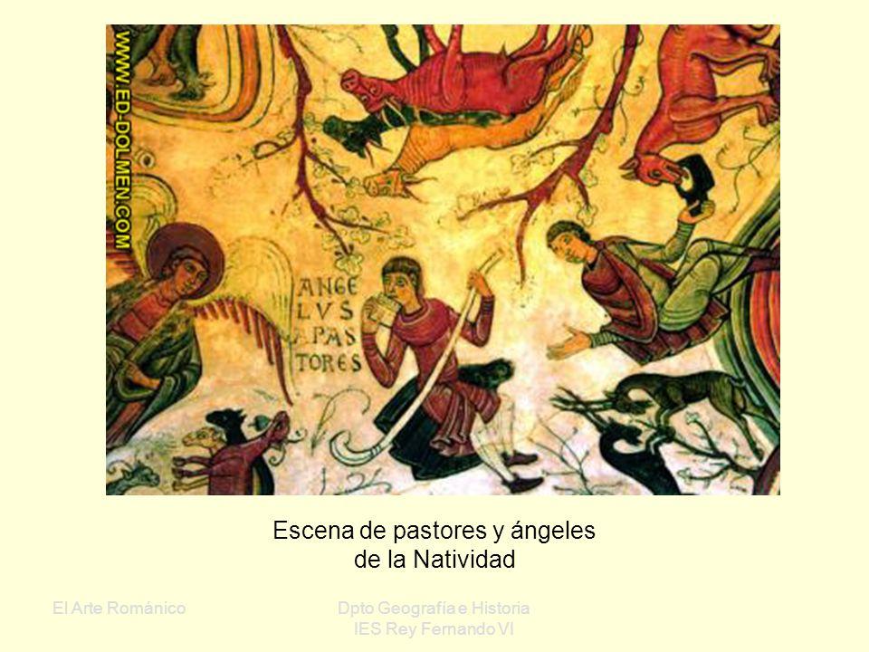Escena de pastores y ángeles de la Natividad