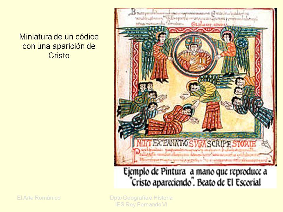 Miniatura de un códice con una aparición de Cristo