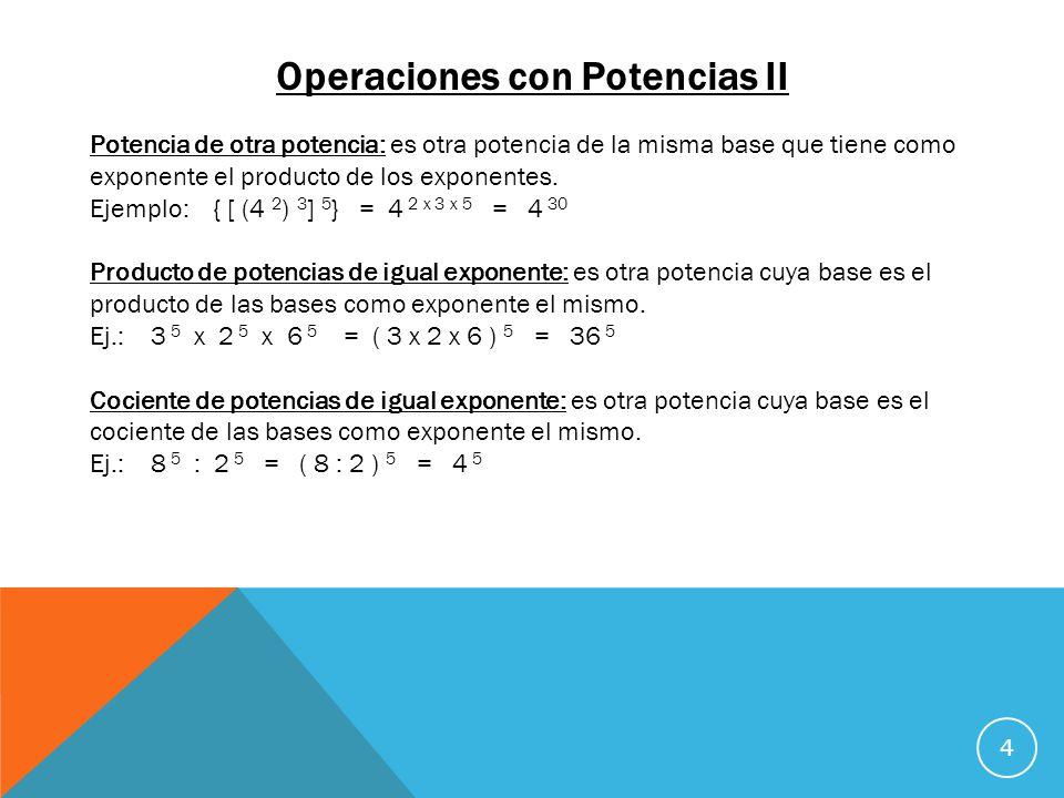 Operaciones con Potencias II