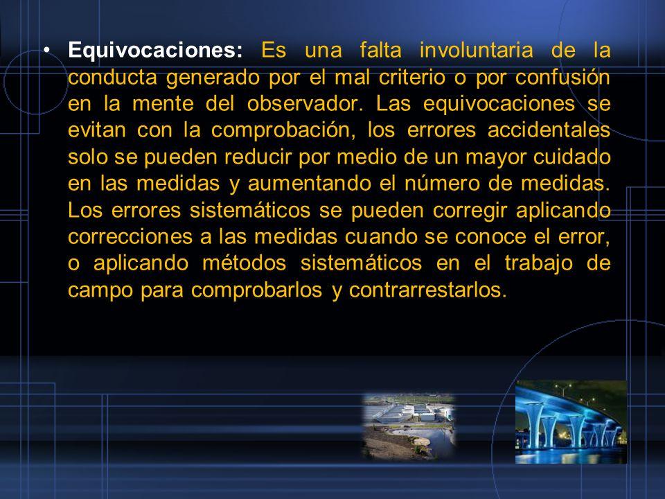 Equivocaciones: Es una falta involuntaria de la conducta generado por el mal criterio o por confusión en la mente del observador.