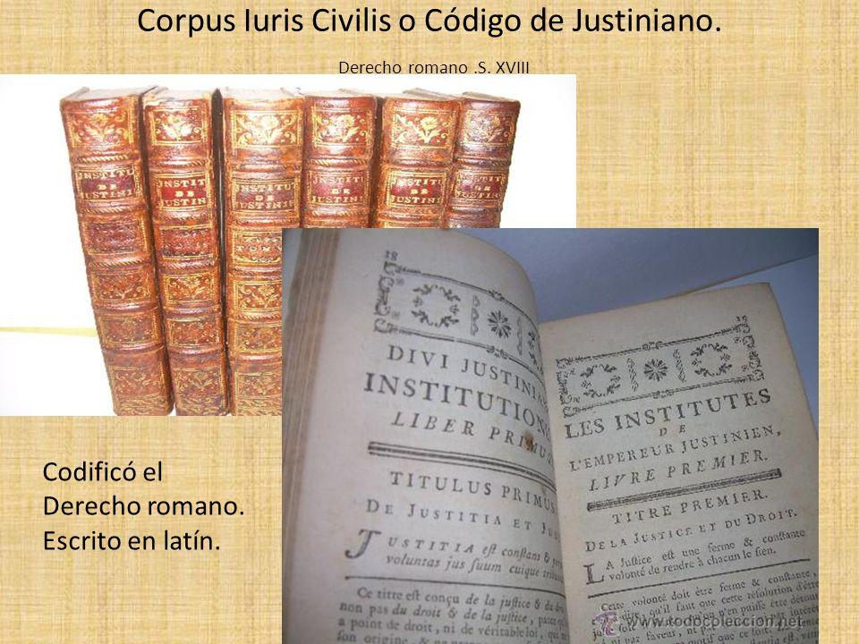 Corpus Iuris Civilis o Código de Justiniano. Derecho romano .S. XVIII