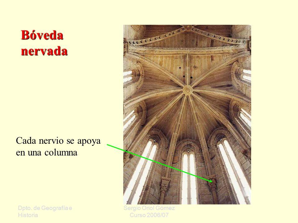 Bóveda nervada Cada nervio se apoya en una columna