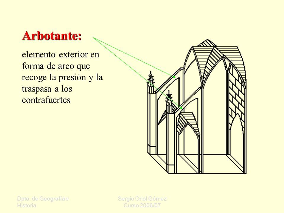 Arbotante: elemento exterior en forma de arco que recoge la presión y la traspasa a los contrafuertes.