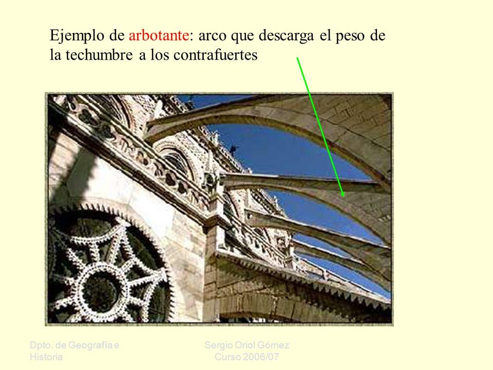 Ejemplo de arbotante: arco que descarga el peso de la techumbre a los contrafuertes