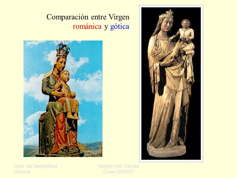 Comparación entre Virgen románica y gótica