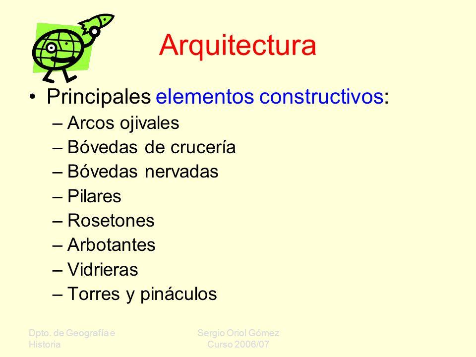 Arquitectura Principales elementos constructivos: Arcos ojivales