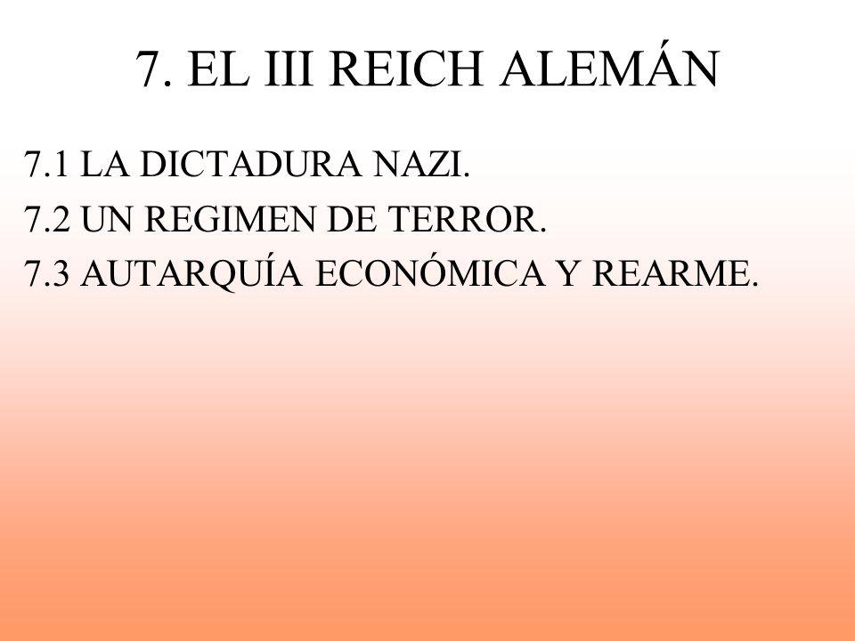 7. EL III REICH ALEMÁN 7.1 LA DICTADURA NAZI. 7.2 UN REGIMEN DE TERROR.