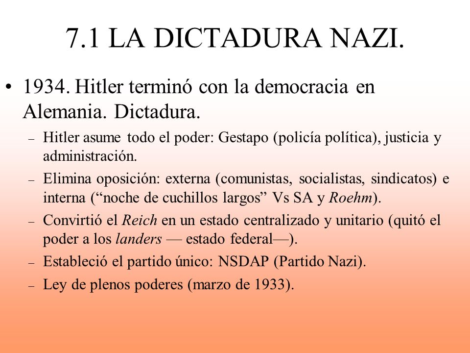 7.1 LA DICTADURA NAZI. 1934. Hitler terminó con la democracia en Alemania. Dictadura.