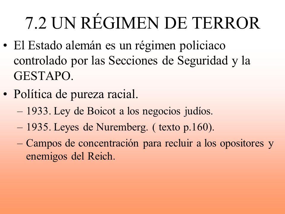 7.2 UN RÉGIMEN DE TERROR El Estado alemán es un régimen policiaco controlado por las Secciones de Seguridad y la GESTAPO.