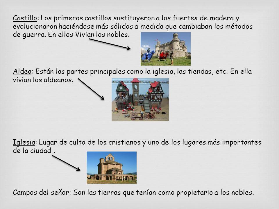 Castillo: Los primeros castillos sustituyeron a los fuertes de madera y evolucionaron haciéndose más sólidos a medida que cambiaban los métodos de guerra. En ellos Vivian los nobles.
