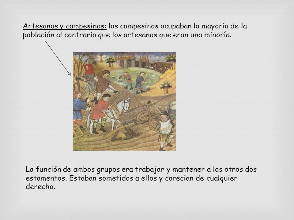 Artesanos y campesinos: los campesinos ocupaban la mayoría de la población al contrario que los artesanos que eran una minoría.