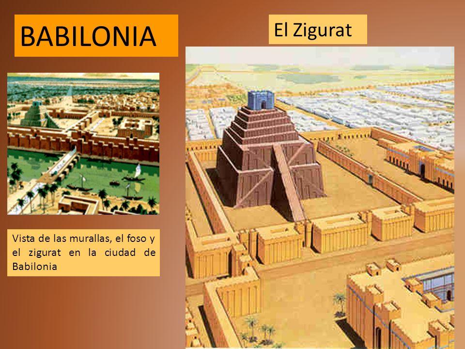 BABILONIA El Zigurat Vista de las murallas, el foso y el zigurat en la ciudad de Babilonia